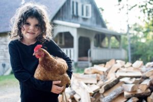 this girl and her chickens